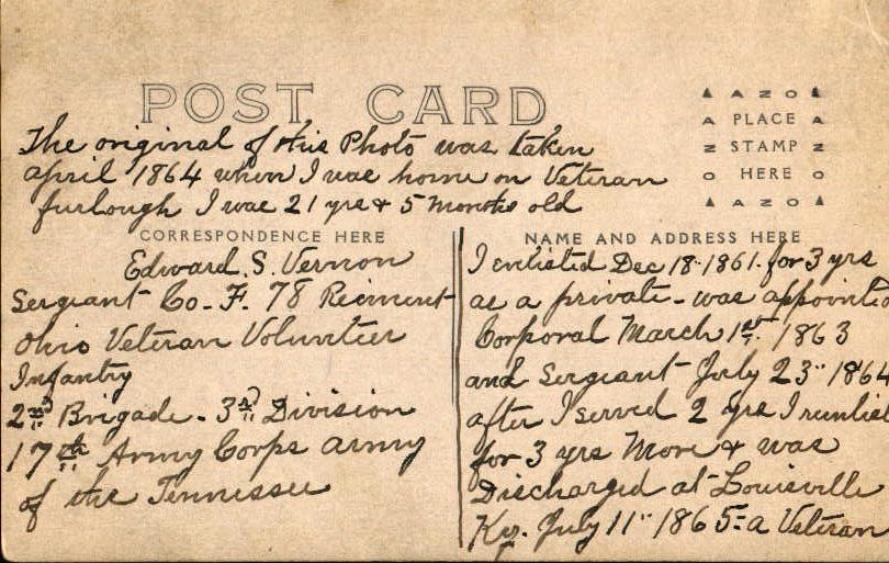 Back of ES Vernon Post Card (c 1914)