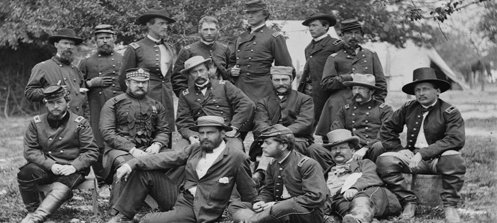 Group of sitting soldiers